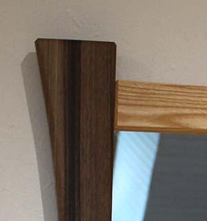 Miroir carré design en Frêne & Noyer - vue 2