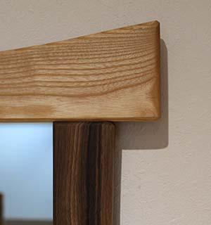 Miroir carré design en Frêne & Noyer - vue 3