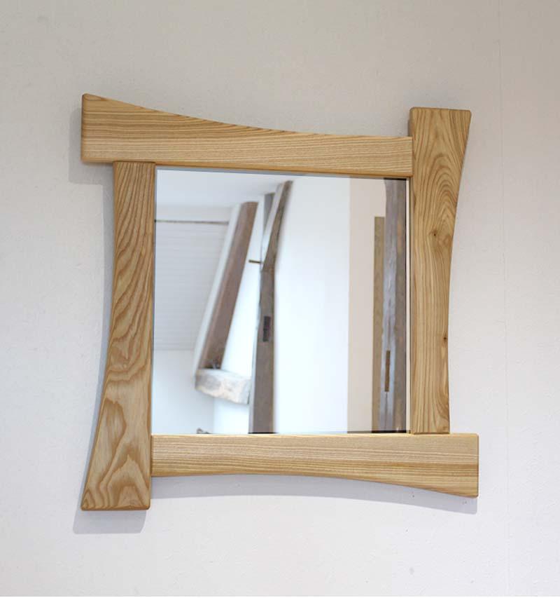 Miroir carré design en frene  - vue 1