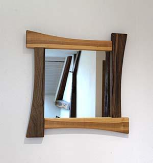 Miroir carré design en Merisier & Noyer - vue 1