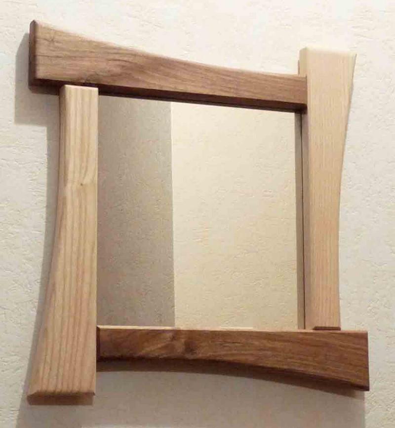 Miroir carré en bois - vue 1