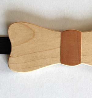Noeud papillon en bois, essence d'érable - vue 2