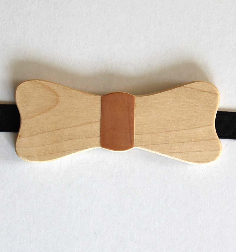 Noeud papillon en bois, essence d'érable - vue 1
