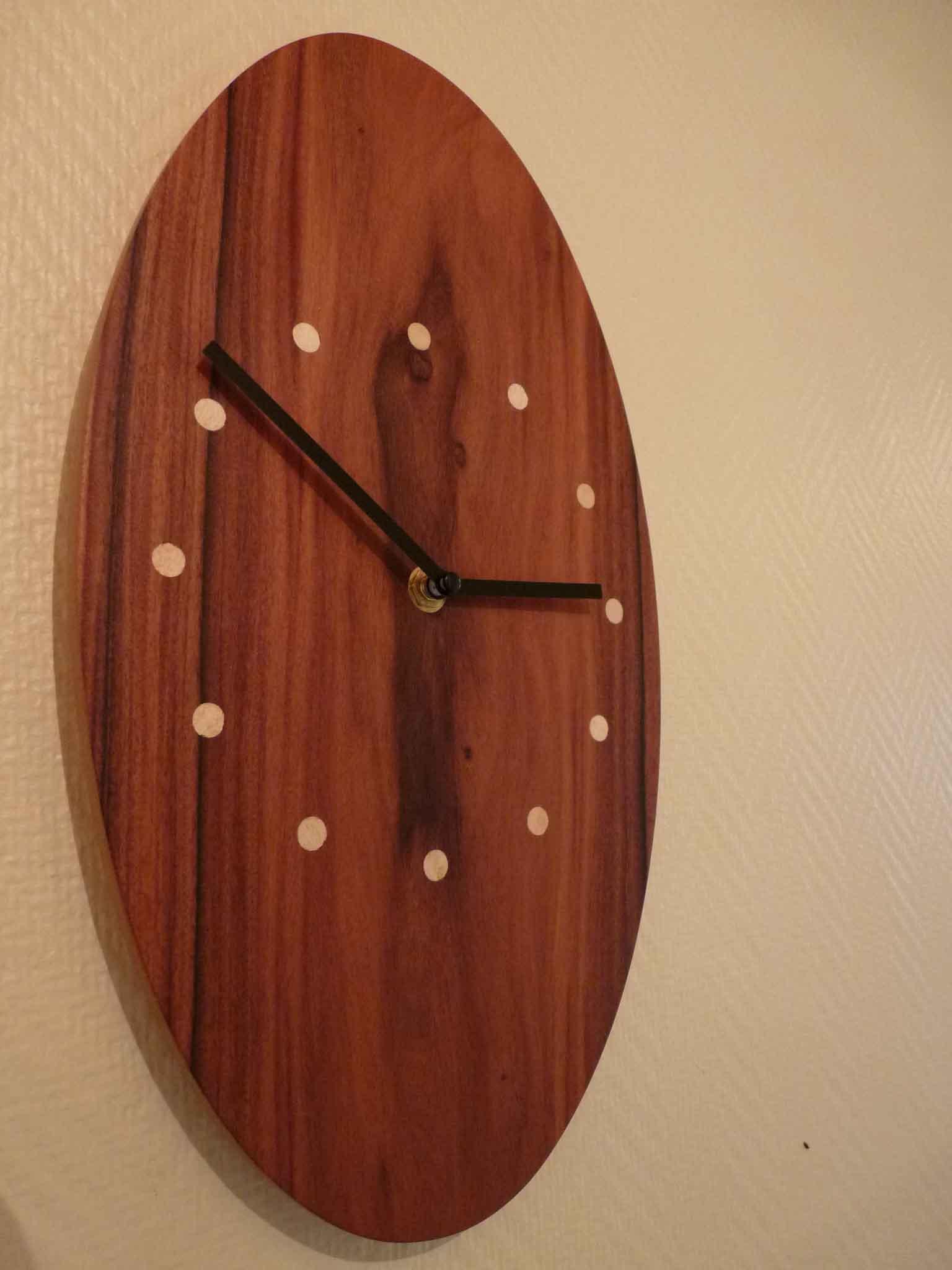 Horloge Desgin Bois Palissandre - vue 3