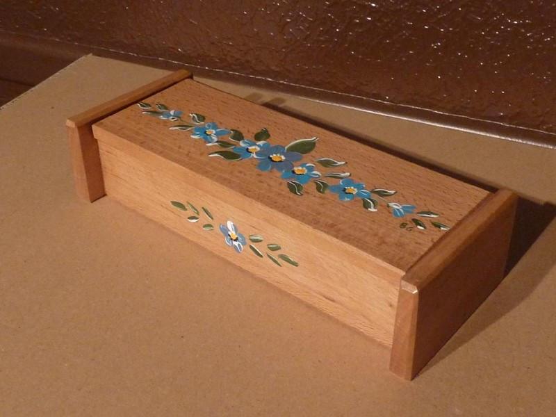 Plumier à rabat fleurs bleues - vue 1